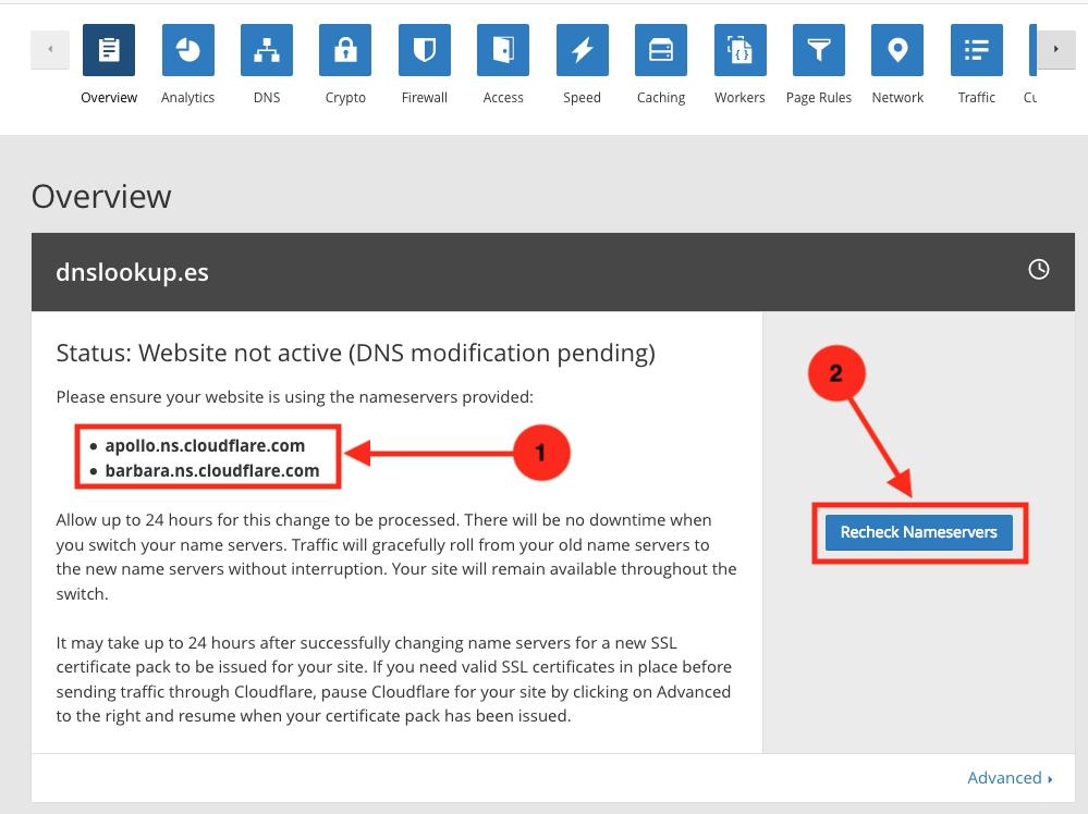 Para activar CloudFlare como servicio DNS necesitarás introducir los servidores de nombre que te de su panel