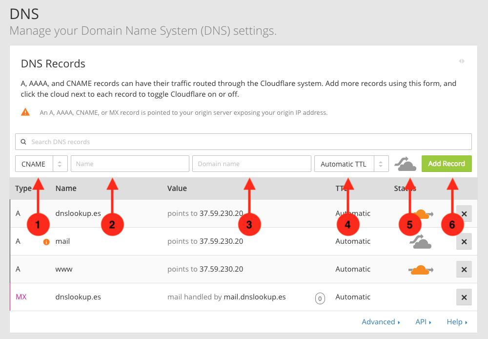 Cómo crear un registro CNAME en el panel del servicio DNS de CloudFlare