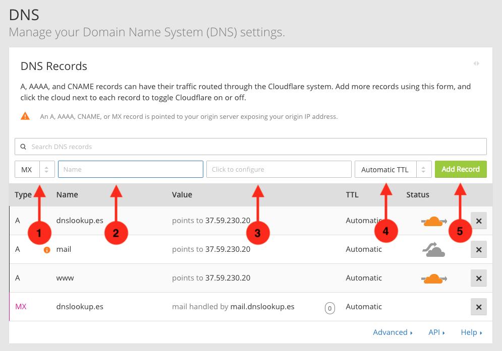 Cómo crear un registro MX en el panel DNS de CloudFlare