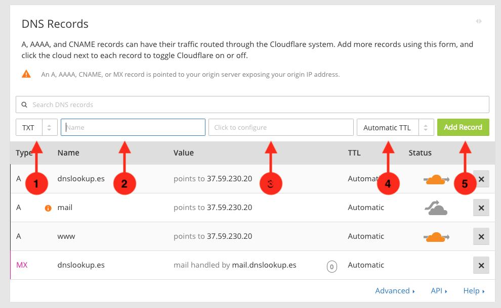 Cómo crear un registro tipo TXT en el panel del servicio DNS de CloudFlare