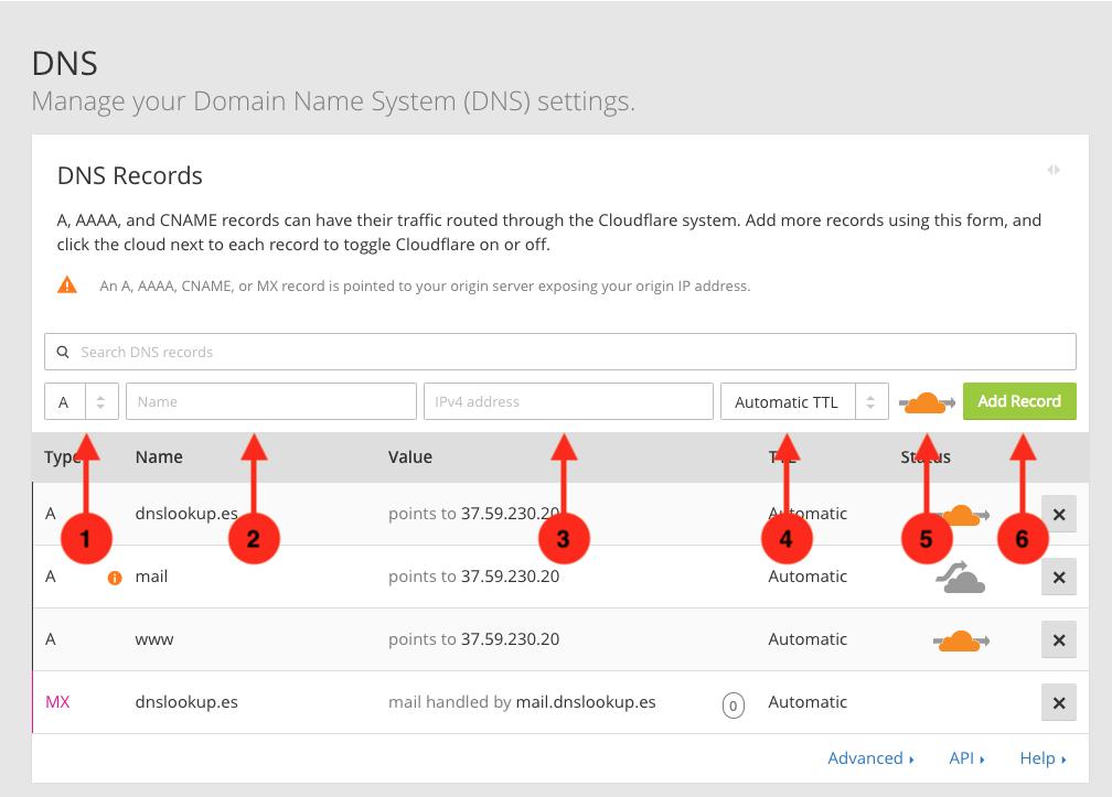 Cómo crear un registro tipo A en el servicio DNS de CloudFlare