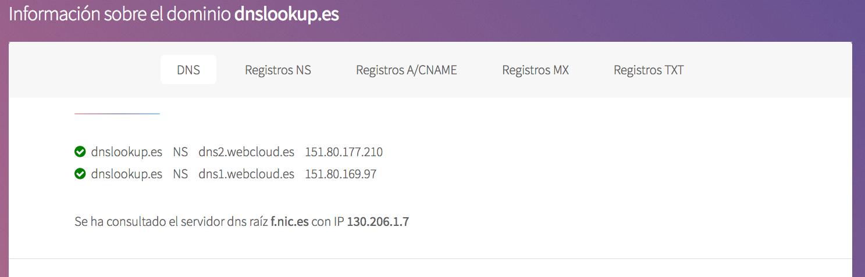 dnslookup.es ofrece mucha información sobre qué es DNS y los registros DNS de un dominio en concreto