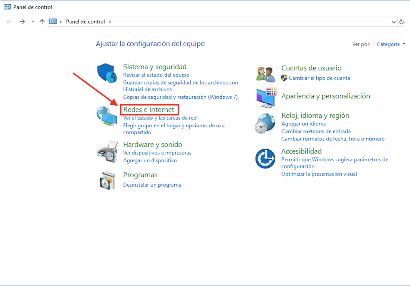 Ilustración del segundo paso del tutorial para cambiar DNS en Windows desde el panel de contro.