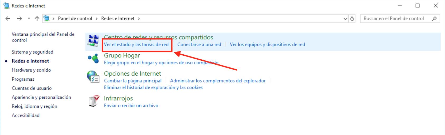Ilustración del tercer paso del tutorial para cambiar DNS en Windows desde el panel de contro.
