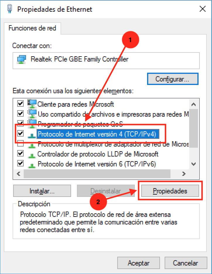 Ilustración del séptimo paso del tutorial para cambiar DNS en Windows