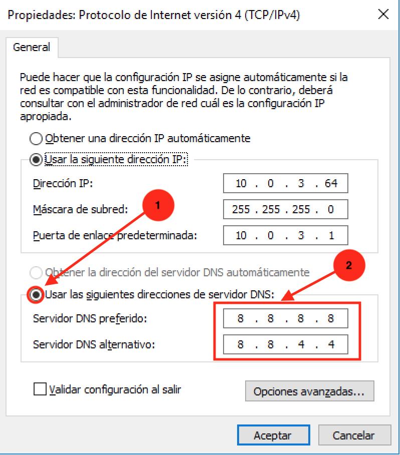 Ilustración del octavo paso del tutorial para cambiar DNS en Windows
